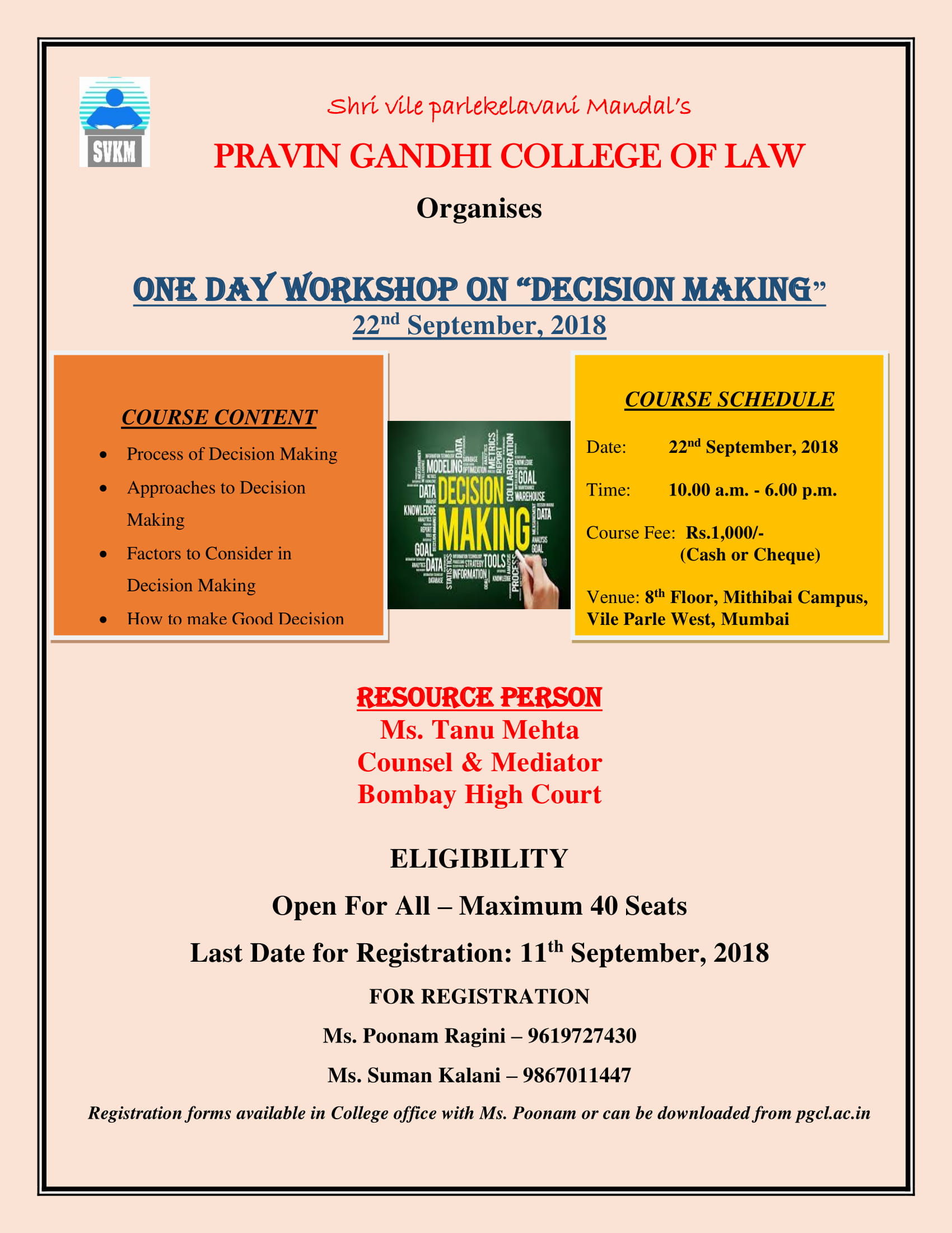 One Day Workshop on Decision Making